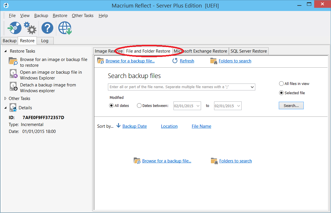how to change files in a backup folder