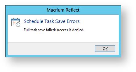 Access Denied error when creating a scheduled task