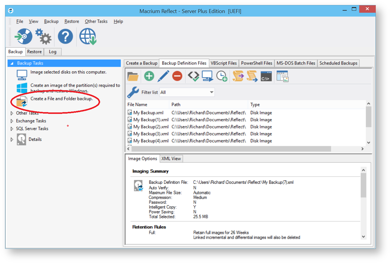 From The Backup Task Bar, Select 'create A File And Folder Backup' To How  To Configure Shadow Copy