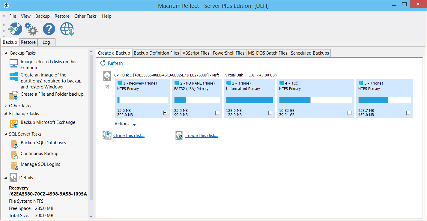 Macrium Reflect showing the backup task pane